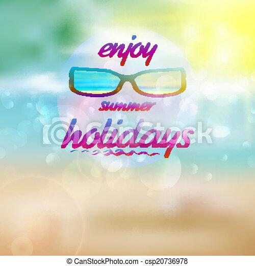 il portare, estate, sunglasses., cielo, sole - csp20736978