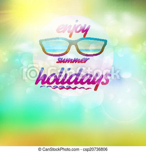 il portare, estate, sunglasses., cielo, sole - csp20736806