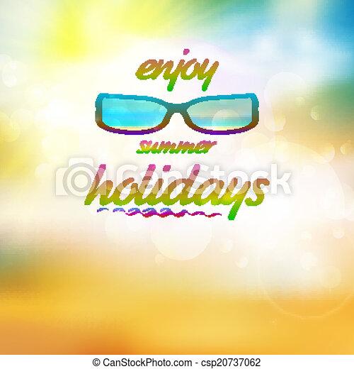 il portare, estate, sunglasses., cielo, sole - csp20737062