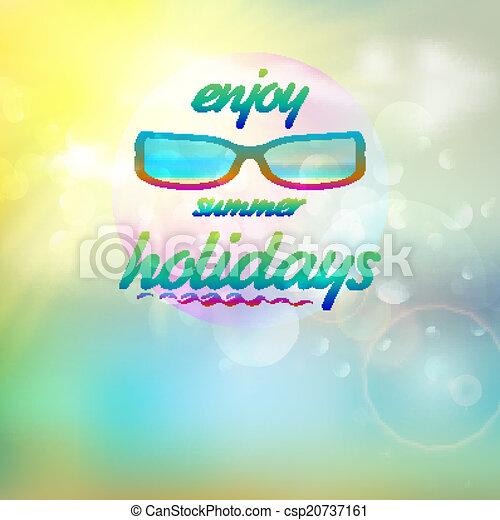 il portare, estate, sunglasses., cielo, sole - csp20737161