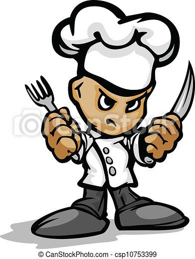 il portare, o, presa a terra, ristorante, chef, cottura, faccia, chef, vettore, immagine, cuoco, cartone animato, determinato, cappello, utinsils, mascotte - csp10753399