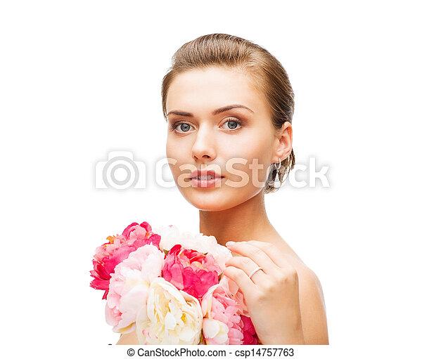 il portare, orecchini, anello, donna, fiori - csp14757763