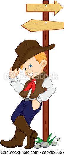 il portare, ragazzo, cowboy, costume, occidentale - csp20952921