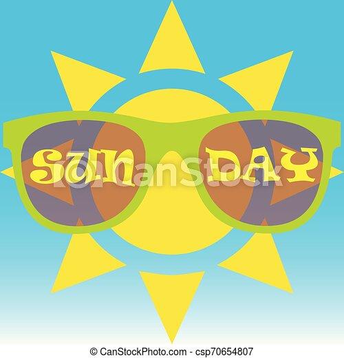 il portare, sole, occhiali da sole - csp70654807