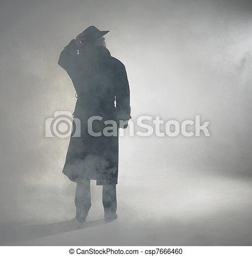 il portare, standing, donna, cappotto, trincea, nebbia - csp7666460