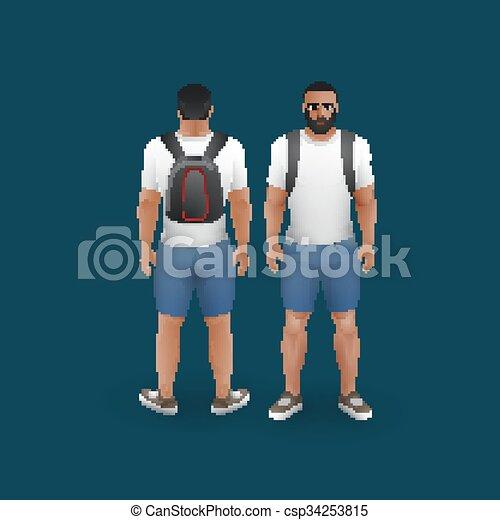 il portare, t-shirt, uomini, calzoncini - csp34253815