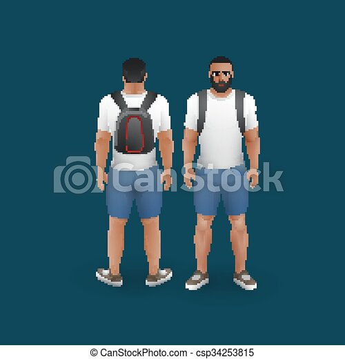 il portare, uomini, calzoncini, t-shirt - csp34253815