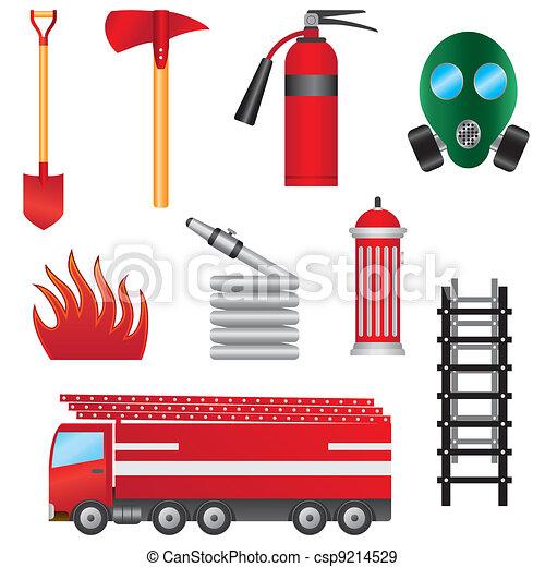 ild, objects., sæt, forebyggelse - csp9214529