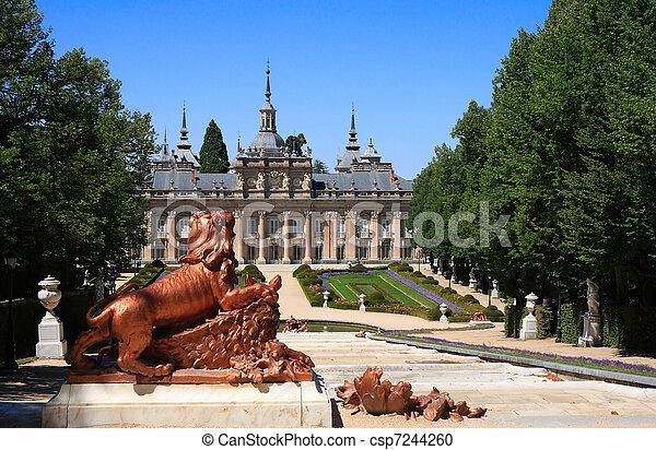 ildefonso, san, palácio, la, de, real, granja, (spain), jardins - csp7244260