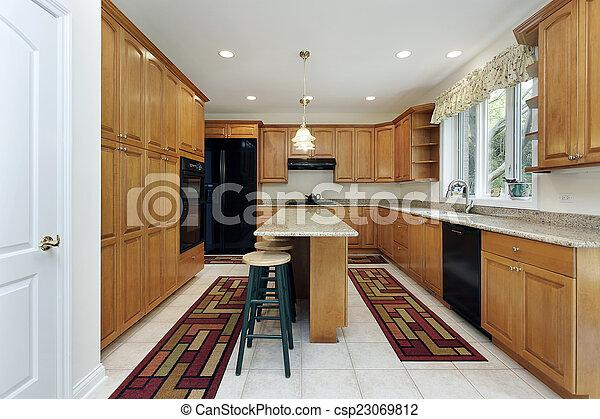 ilha, cozinha - csp23069812