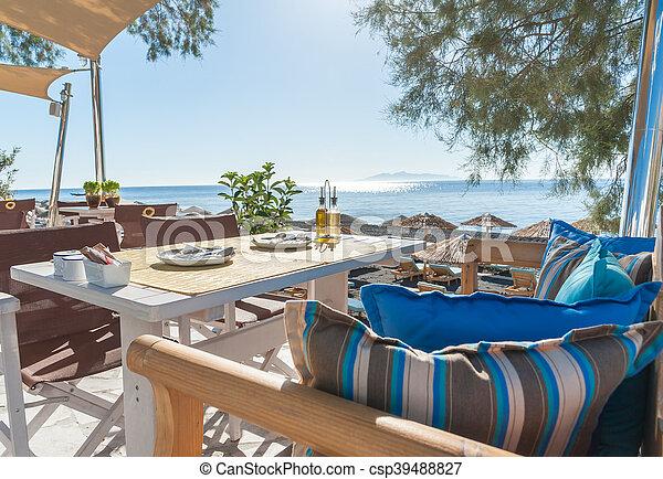 ilha, pequeno almoço, praia, santorini - csp39488827