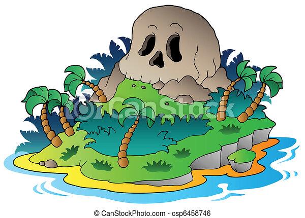 ilha, pirata, cranio - csp6458746