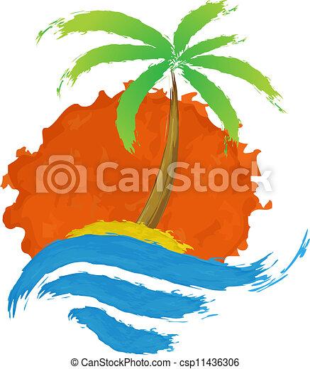 ilha tropical, palma, sea. - csp11436306