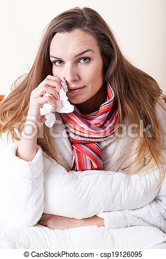 Ill woman with tissue - csp19126095