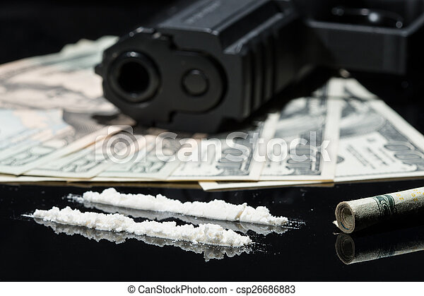 Illegal Drugs Money And Guns Close Up Shot Of Cocaine Us Dollars