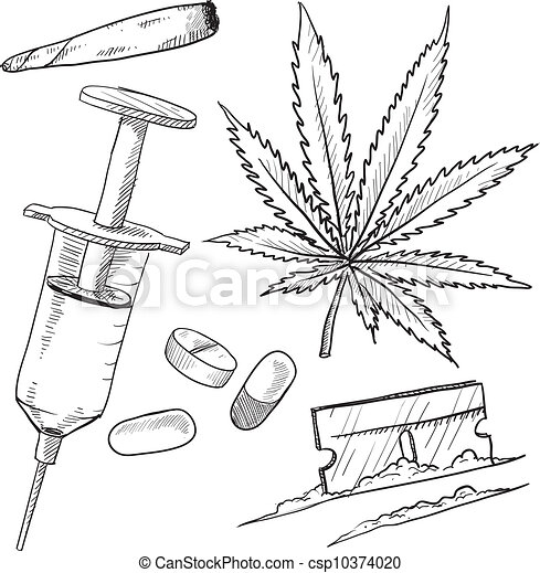 Illegal drugs objects sketch - csp10374020