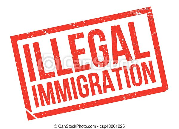 Illegal immigration rubber stamp. grunge design with dust ...