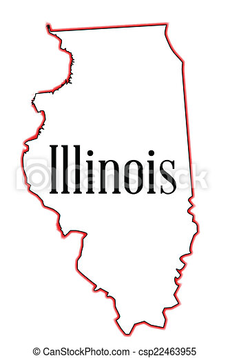 Outline map of the usa state of illinois over a white clipart