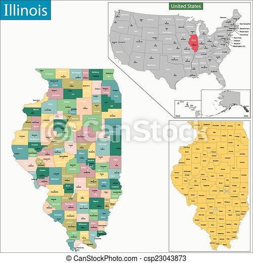 Illinois Map Map Of Illinois State Designed In Illustration With