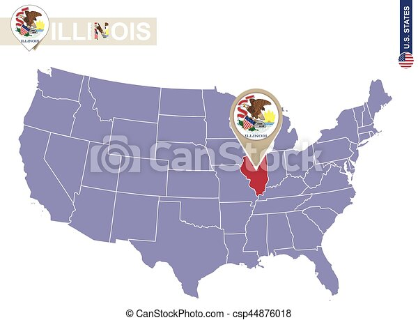 Line Art Usa Map : Illinois state on usa map flag and us states