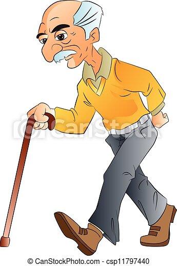 illlustration, wandelende, bejaarde - csp11797440