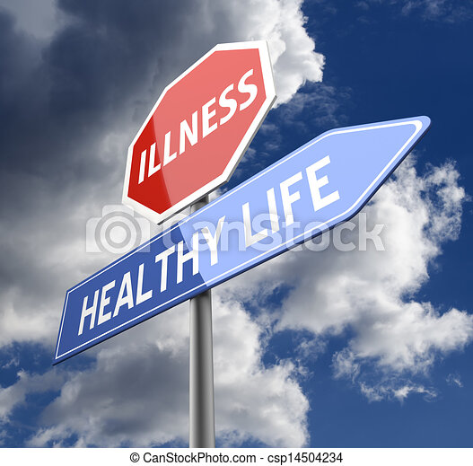 Illness and Healthy Life Words on Red Blue Road sign - csp14504234