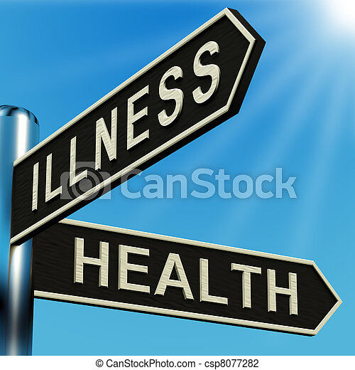 Illness Or Health Directions On A Signpost - csp8077282