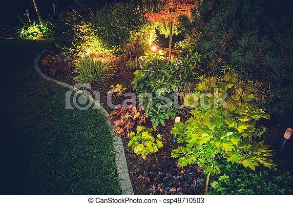 Illuminated Backyard Garden - csp49710503