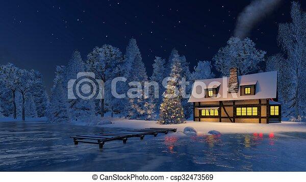 Illuminated Christmas Tree And Rustic House At Night