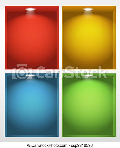Illuminated empty book shelves illustration - csp9318598