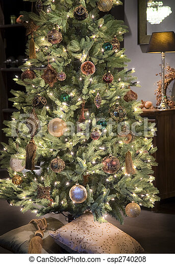 Illuminated Gold And Brown Christmas Tree With Balls Nad Stars