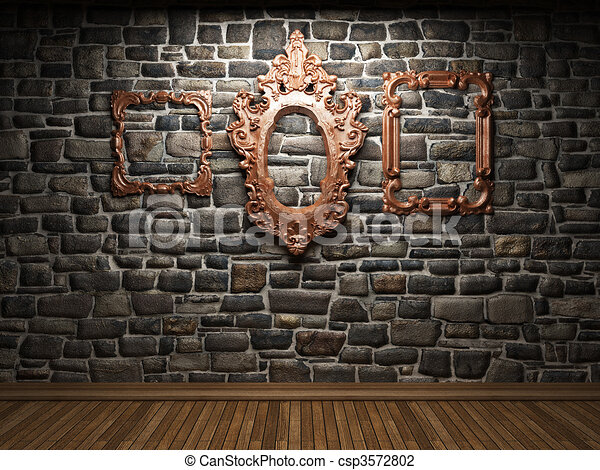 illuminated stone wall and frame - csp3572802 : stone wall art - www.pureclipart.com