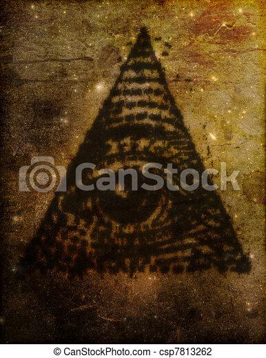 Illuminati Eye in triangle Illustration - csp7813262