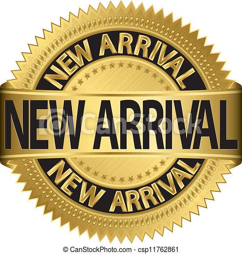 illus, etichetta, arrivo, dorato, nuovo - csp11762861