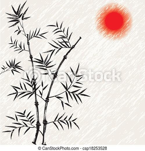 illust, bamboe, vector, japanner, aziaat - csp18253528