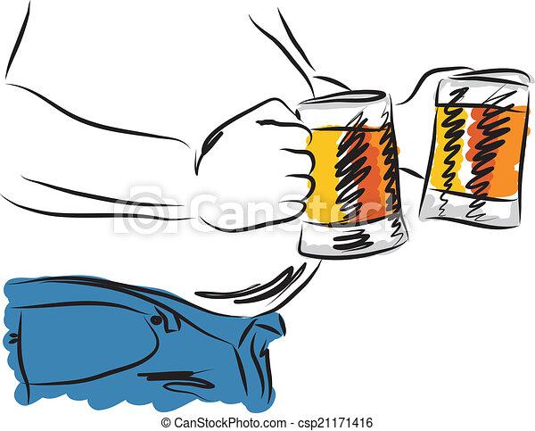 illust, bière, homme, boire, ventre - csp21171416