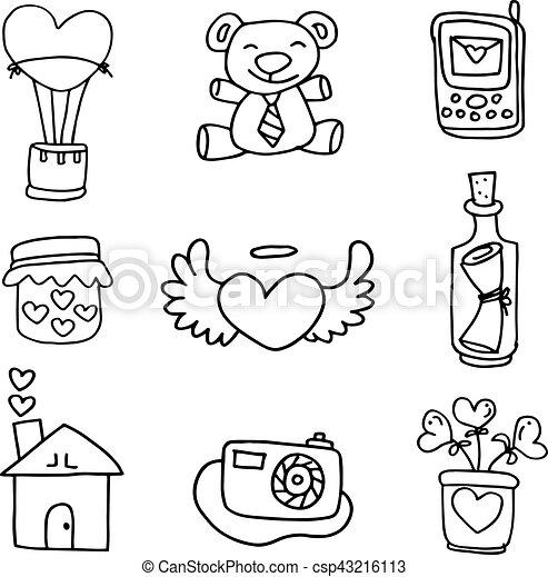 Illustartion Of Hand Draw Love Doodles Vector Art