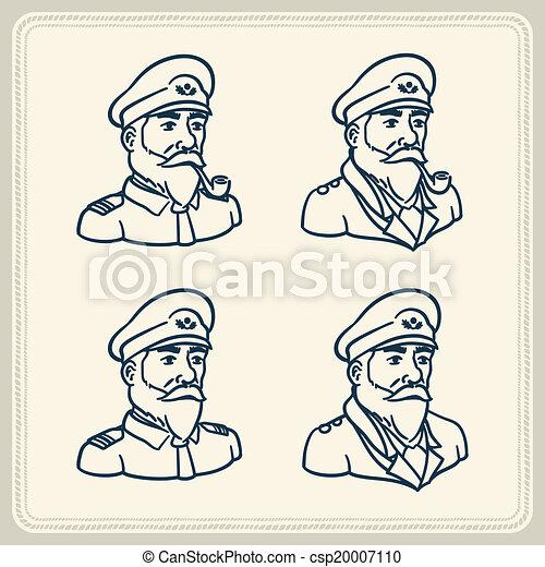 Illustre Barbu Capitaine Ic Bateau Barbu Vendange Sur Illustration Tuyau Fond Fumer Blanc Capitaine Bateau Canstock
