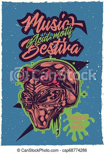 illustraion of a head of aliens. - csp68774286