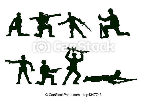 Illustrated Army Soldiers - csp4347743