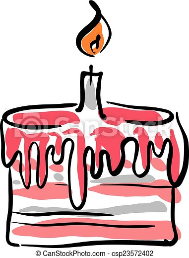 Illustrated birthday cake with cream on white background, vector - csp23572402