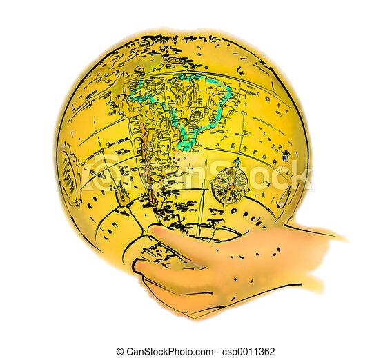 Illustrated Globe - csp0011362