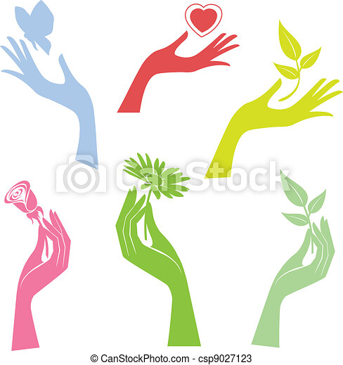 Illustrated hand presenting a flower - csp9027123