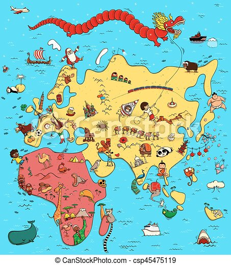 Illustrated Map of Europe, Asia and Africa