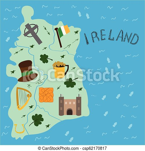 Illustrated map of Ireland national elements. on map of netherlands, map of european countries, map of japan, map of britain, map of british isles, map of dublin, map of skellig islands, map of denmark, map of united kingdom, map of ring of kerry, map of united states, map of prince edward island, map of eastern hemisphere, map of yugoslavia, map of northeast us, map of sweden, map of scotland, map of london, map of hong kong, map of philippines,