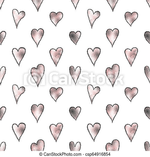 Illustrated seamless background with pink hearts - csp64916854