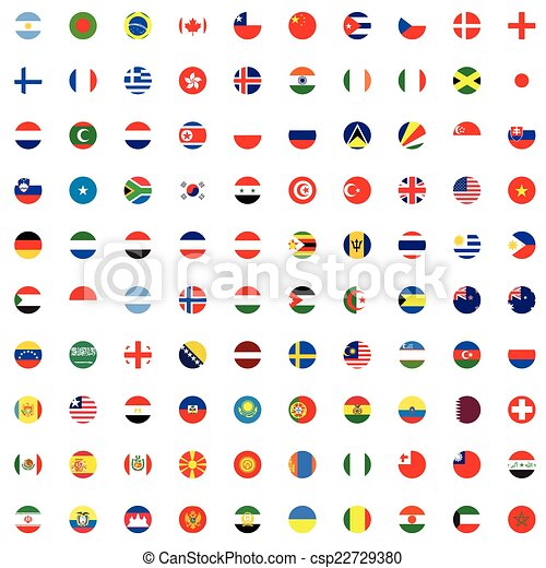 Illustrated Set of World Flags - Round - csp22729380