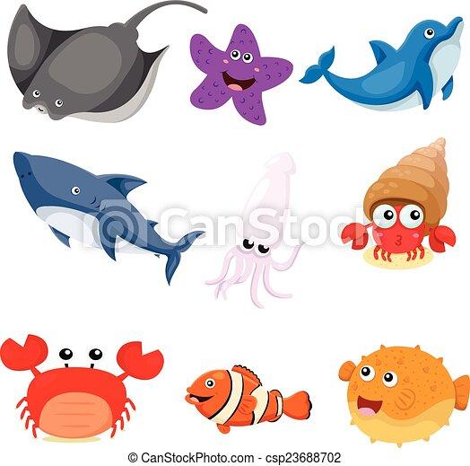 illustrateur, ensemble, animaux, mer - csp23688702