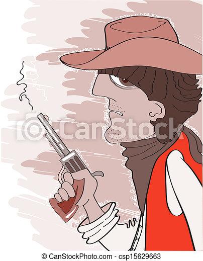 Un bandido occidental con sombrero de vaquero con pistola. Retrato de vector ilustrado - csp15629663