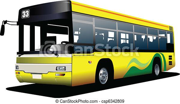 illustrati, bus., ベクトル, 都市, coach. - csp6342809